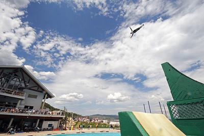 U.S. Freestyle Ski Team aerialist Hans Gardner soars high in the air at the Festival of Flight Aerials in the Utah Olympic Park Splash Pool. (c) 2011 USSA/Tom Kelly