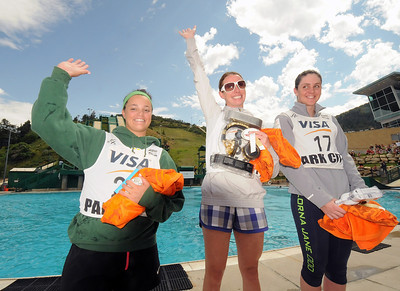 Emily Cook (center) tops the women's podium along with Laura Peel of Australia (right) and teammate Allie Lee (left) at the Festival of Flight Aerials in the Utah Olympic Park Splash Pool. (c) 2011 USSA/Tom Kelly