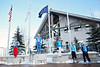 Women's podium: (l-r) Alina Gridneva, Assoli Slivets, Veronika Korsunova, Kiley McKinnon and Allison Lee<br /> 2012 Columbia Super Contintental Cup <br /> Freestyle Aerials at the Utah Olympic Park<br /> Friday, December 21, 2012<br /> Photo: Sarah Brunson/U.S. Ski Team