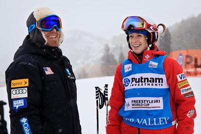 Coach Garth Hagar speaks with Hannah Kearney Moguls training day  2013 VISA FIS Freestyle World Cup at Deer Valley, UT Photo: Sarah Brunson/U.S. Ski Team