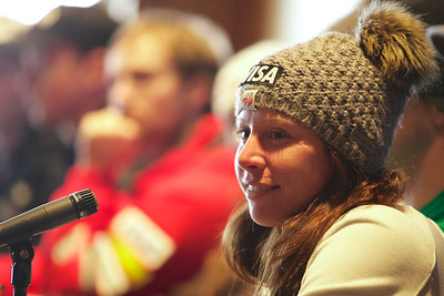Emily Cook Press conference for the 2013 Visa FIS Freestyle World Cup at Deer Valley in Park City, Utah Photo © Kirk Paulsen