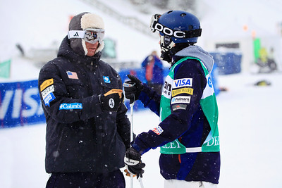 Bryan Zemba with coach Harald Marbler Moguls training day  2013 VISA FIS Freestyle World Cup at Deer Valley, UT Photo: Sarah Brunson/U.S. Ski Team