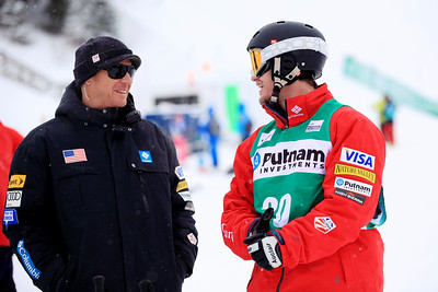 Coach Harald Marbler and Joe Discoe Moguls training day  2013 VISA FIS Freestyle World Cup at Deer Valley, UT Photo: Sarah Brunson/U.S. Ski Team