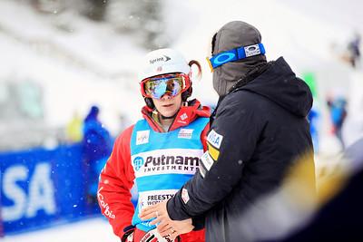 Coach Garth Hagar giving Hannah Kearney some advice. Moguls training day  2013 VISA FIS Freestyle World Cup at Deer Valley, UT Photo: Sarah Brunson/U.S. Ski Team