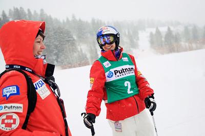 PT, Beth Mickelson speaks with Heather McPhie Moguls training day  2013 VISA FIS Freestyle World Cup at Deer Valley, UT Photo: Sarah Brunson/U.S. Ski Team