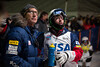 "Pat Deneen with coach Chris ""Seedog"" Seeman<br /> Dual moguls finals<br /> 2015 VISA Freestyle International FIS World Cup at Deer Valley<br /> Photo: USSA"