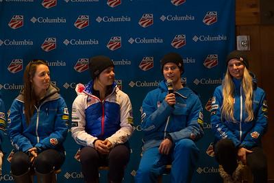 (l-r) Mikaela Matthews, Ashley Caldwell, Mac Bohonnon and Kiley McKinnon Opening press conference 2016 FIS Visa Freestyle International World Cup - Deer Valley Photo: U.S. Ski Team