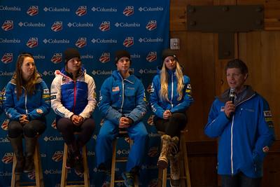 Tiger Shaw Speaking (l-r) Mikaela Matthews, Ashley Caldwell, Mac Bohonnon, Kiley McKinnon Opening press conference 2016 FIS Visa Freestyle International World Cup - Deer Valley Photo: U.S. Ski Team