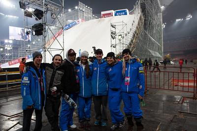 (l-r) Alex Bowen, Jon Lillis, Eric Loughran, Madison Olsen, Mac Bohonnon, Ashley Caldwell and Kiley McKinnon FIS Freestyle Aerials World Cup - Beijing, China Photo: Greg Heuer/U.S. Ski Team