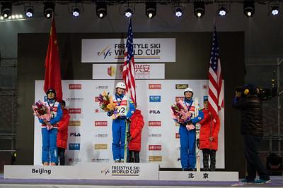 Xin Zhang, Ashley Caldwell and Kiley McKinnon FIS Freestyle Aerials World Cup - Beijing, China Photo: Greg Heuer/U.S. Ski Team