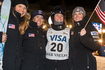 Morgan Schild, Mikaela Matthews, Jaelin Kauf and Keaton McCargo Dual Moguls 2017 Visa Freestyle International World Cup at Deer Valley Photo © Steven Earl