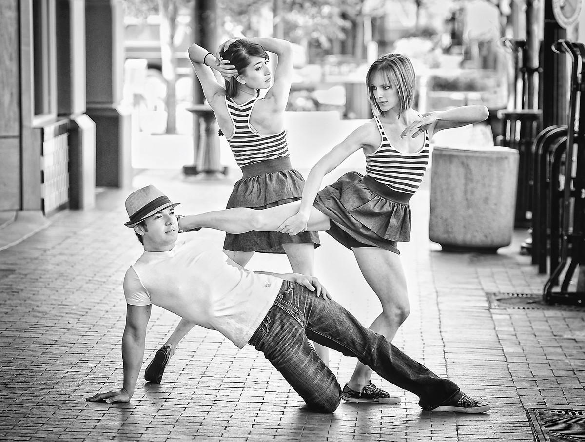 Downtown Boise street portrait of three dancers. Photo by Mike Reid.