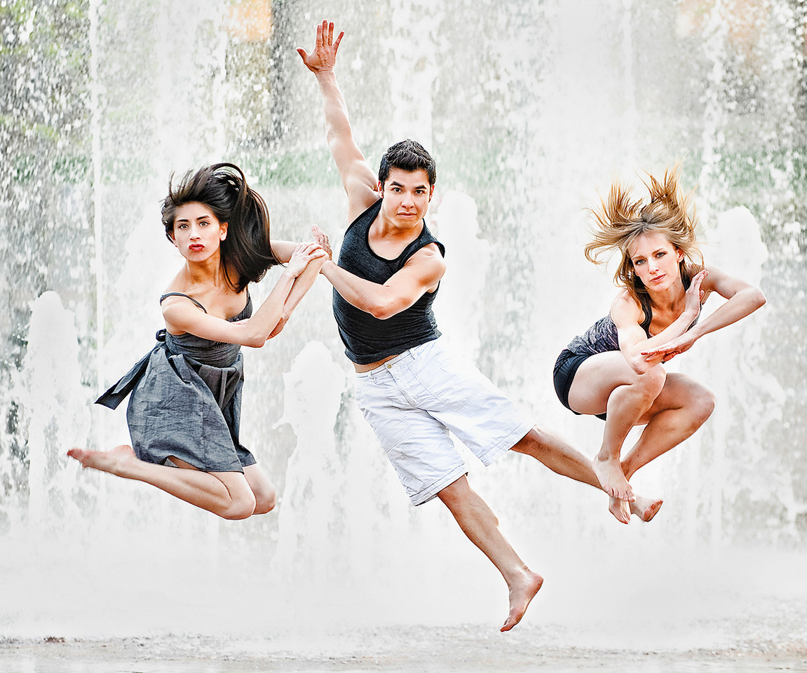 Portrait of three dancers by the fountain at Boise Center on the Grove Boise. Photo by Mike Reid.