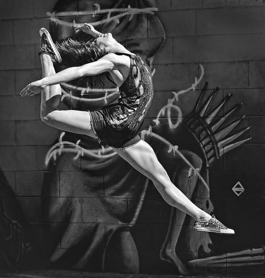 Freestyle Ballerina. Outdoor portrait of Caitlin Stanley. Boise urban ballerina in Freak Alley.  Photo by Mike Reid.