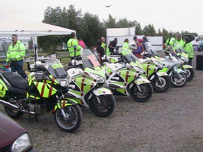 Bikes left to right: NT700 show/training, 3 x ST1300 operational, ST1100 show/standby, ST1300 standby