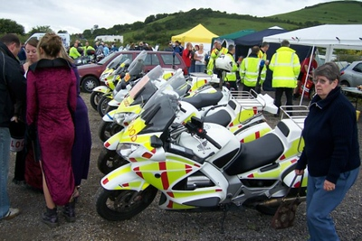 This picture shows just how popular our first bike show actually was, despite the blustery, damp weather.  And our Dracula girls were out in force, collecting money for us from the many visitors