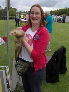 Me and my ferret!  Ali making friends with Diesel (the ferret is the one on the left)