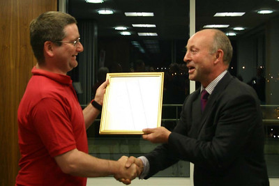 Nick Anderson receiving Citation from Jake Olver (Clerk to Lieutenancy)