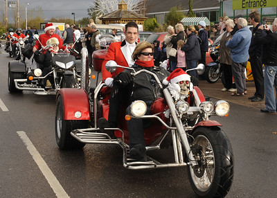 The parade of clowns on Harleys as the Circus Americano arrives at Sanders Gardenworld
