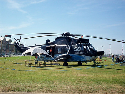 A Germany Marines Sea King - quite a sight when it took off from the relatively narrow beach lawns.