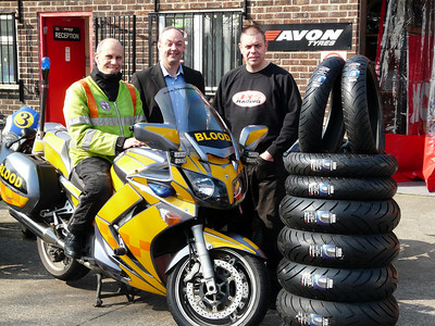 Avon Tyres and JHS Racing in Keynsham have sponsored Freewheelers with a superb tyre deal for our fleet of Yamaha FJR1300 motorcycles. Pictured are Martin Newman, East Bike rider and Co-ordinator for Freewheelers EVS; Gary Bretherton, Avon Tyres Motorcycle Sales Manager; James Holland of JHS Racing