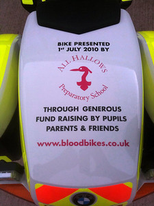 We are proud to display All Hallows name on our new blood bike