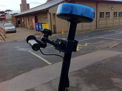 A close up of the pole-mounted camera