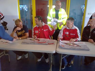 Chris Alder Rear with Carl Fogarty, Michael Rutter, Martin Jessop & Tony Rutter.