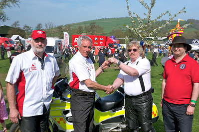 Presenting a ST1100 blood bike to Cornwall Freewheelers on long term loan. Left to Right: John Stepney (NABB development officer) Gordon Downie (NABB chairman), Pete Morley-Payne (Cornwall Freewheelers) and Nick Anderson (NABB committee member)