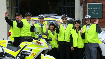 Management from Malmaison and Hotel du Vin pictured in front of the Bristol hotel. Together with Mike Burns, the hotels' staff will be aiming to buy a VW Tiguan and new blood bike for Freewheelers.