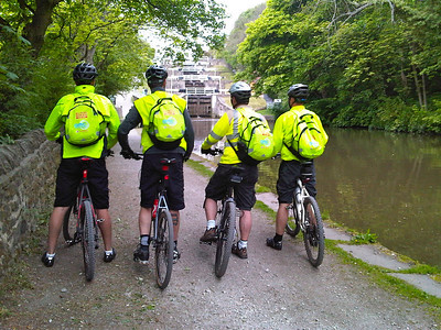 We left Bradford and headed out towards Skipton along the canal tow path. The cyclists proudly show off their complementary back packs, kindly supplied by AMC Communications Bristol, before they tackled the incline of 5 consecutive lock gates.