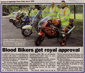 Blood Bikers get nod from Queen - Queen's Award for Voluntary Service Burnham & Highbridge Times 6th June 2008