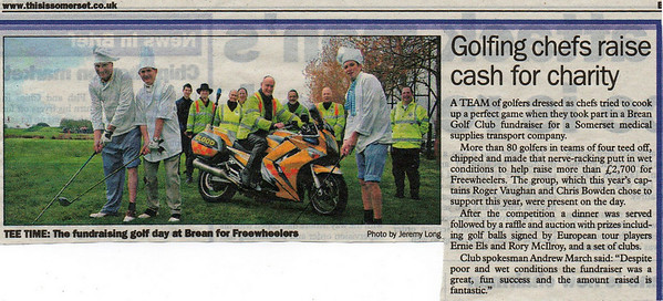 Brean Golf Club supports Freewheelers Burnham & Highbridge Times  22nd May 2009