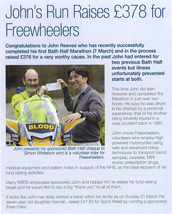 John Reeves raised £378 for Freewheelers by running in the Bath Half Marathon in March 2010 Knorr-Bremse Bulletin issue 17 Spring 2010