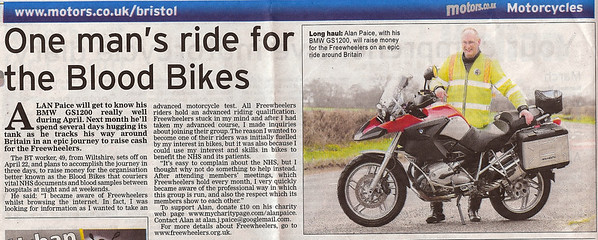Alan Paice's charity ride from John O'Groats to Lands End Bristol Evening Post 26th March 2009