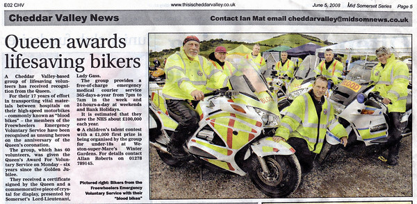 Queen awards lifesaving bikers - Queen's Award for Voluntary Service Mid Somerset Series 5th June 2008