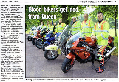 Blood Bikers get royal approval - Queen's Award for Voluntary Service Bristol Evening Post 3rd June 2008