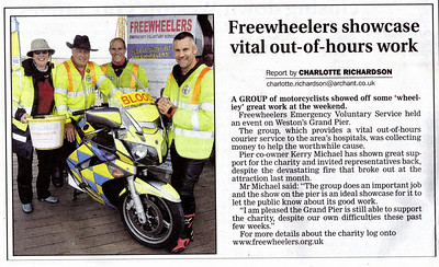 Freewheelers showcase vital out-of-hours work - article about the 2008 Freewheelers bike show on Weston's Grand Pier Weston & Somerset Mercury 28th August 2008
