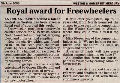Royal award for Freewheelers - Queen's Award for Voluntary Service Weston & Somerset Mercury 5th June 2008