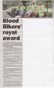 Blood Bikers' royal award - Queen's Award for Voluntary Service Clevedon Mercury  26th June 2008