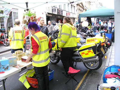 The Flying Crane and our volunteers collecting at the Bristol Bike Show on Corn Street in Bristol city centre in August 2010.