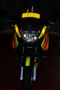 Front view of reflective decals at night