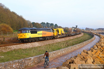56113 heads west through Dawlish Warren passing Langstone Rock, working the: 6Z28 08:20 Westbury to Hackney Yard 11/12/13  Watch the video at: http://youtu.be/7rxjCFfO9Zg