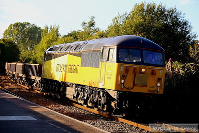 56087 heads south through Warminster on the: 6Z30 17:18 Westbury to Eastleigh Yard 16/09/13  Watch the video at: http://youtu.be/gf0G2fwmd_o