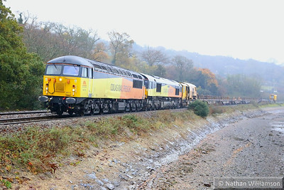 56113 & 66849 head west along the River Teign near Bishopsteignton, working the: 6Z28 08:20 Westbury to Hackney Yard 13/12/13  Watch the video at: http://youtu.be/CS00IOoDPwk