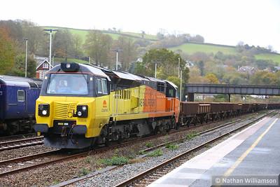 70806 heads north through Totnes on: 6C21 12:31 Tavistock Junction to Riverside  13/11/14