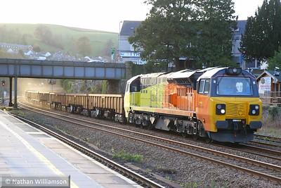 70801 heads north through Totnes on: 6C21 15:32 Tavistock Junction to Riverside  05/12/14