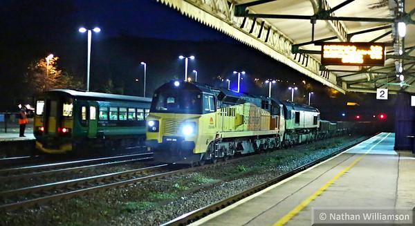 70806 & 66847 head north through Totnes on: 6C27 01:00 Plymouth to Westbury  01/12/14