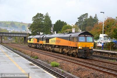 66847 & 66850 head north through Totnes forming the: 0C21 07:35 Tavistock Junction to Hackney Yard  10/11/14