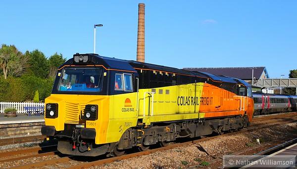 70801 arrives into Totnes on: 0V70 10:36 Riverside to Tavistock Junction  03/12/14